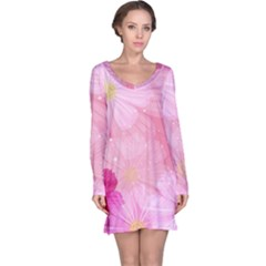 Cosmos Flower Floral Sunflower Star Pink Frame Long Sleeve Nightdress