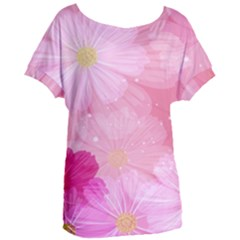 Cosmos Flower Floral Sunflower Star Pink Frame Women s Oversized Tee by Mariart