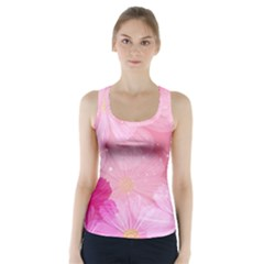 Cosmos Flower Floral Sunflower Star Pink Frame Racer Back Sports Top