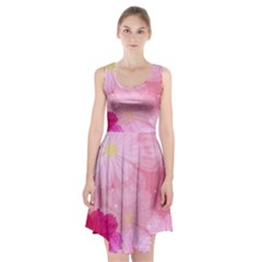 Cosmos Flower Floral Sunflower Star Pink Frame Racerback Midi Dress