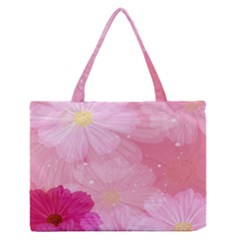 Cosmos Flower Floral Sunflower Star Pink Frame Zipper Medium Tote Bag by Mariart