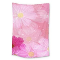 Cosmos Flower Floral Sunflower Star Pink Frame Large Tapestry by Mariart