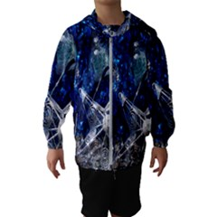 Christmas Silver Blue Star Ball Happy Kids Hooded Wind Breaker (kids) by Mariart