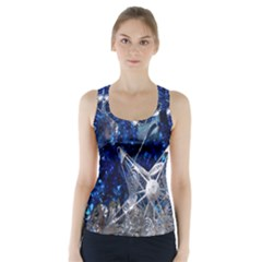 Christmas Silver Blue Star Ball Happy Kids Racer Back Sports Top
