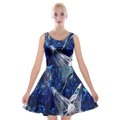 Christmas Silver Blue Star Ball Happy Kids Velvet Skater Dress