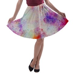 Watercolor Galaxy Purple Pattern A-line Skater Skirt by paulaoliveiradesign