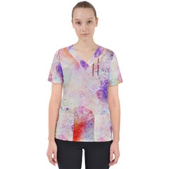 Watercolor Galaxy Purple Pattern Scrub Top