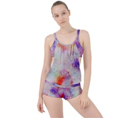 Watercolor Galaxy Purple Pattern Boyleg Tankini Set