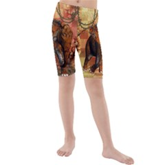Steampunk, Steampunk Elephant With Clocks And Gears Kids  Mid Length Swim Shorts by FantasyWorld7