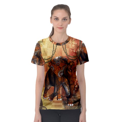 Steampunk, Steampunk Elephant With Clocks And Gears Women s Sport Mesh Tee by FantasyWorld7