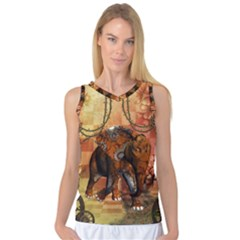 Steampunk, Steampunk Elephant With Clocks And Gears Women s Basketball Tank Top by FantasyWorld7