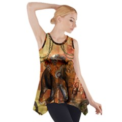Steampunk, Steampunk Elephant With Clocks And Gears Side Drop Tank Tunic by FantasyWorld7