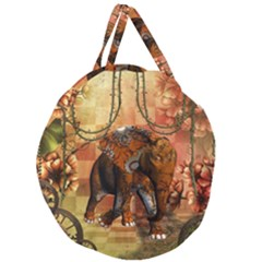 Steampunk, Steampunk Elephant With Clocks And Gears Giant Round Zipper Tote by FantasyWorld7