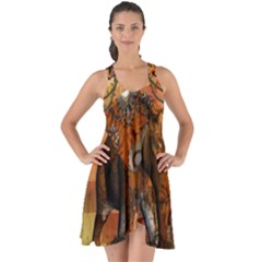 Steampunk, Steampunk Elephant With Clocks And Gears Show Some Back Chiffon Dress