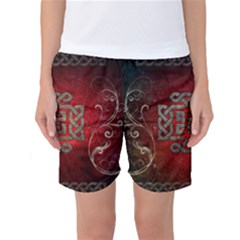 The Celtic Knot With Floral Elements Women s Basketball Shorts by FantasyWorld7