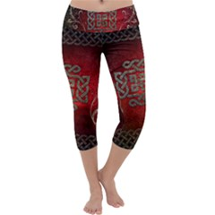 The Celtic Knot With Floral Elements Capri Yoga Leggings by FantasyWorld7