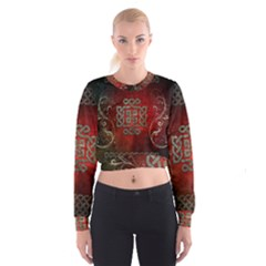 The Celtic Knot With Floral Elements Cropped Sweatshirt by FantasyWorld7