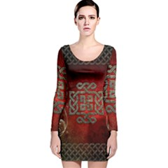 The Celtic Knot With Floral Elements Long Sleeve Velvet Bodycon Dress by FantasyWorld7