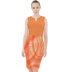Orange Abstract Design Midi Bodycon Dress
