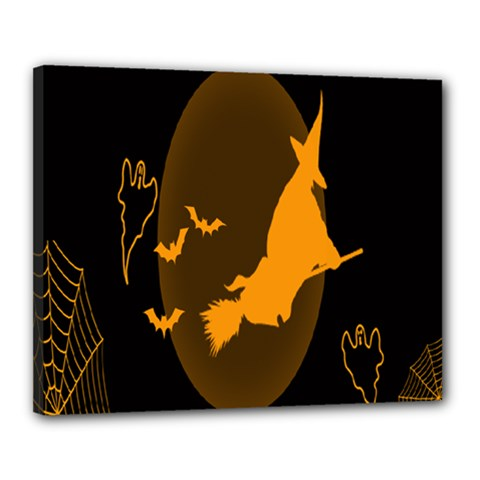 Day Hallowiin Ghost Bat Cobwebs Full Moon Spider Canvas 20  X 16  by Mariart
