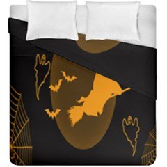 Day Hallowiin Ghost Bat Cobwebs Full Moon Spider Duvet Cover Double Side (king Size) by Mariart