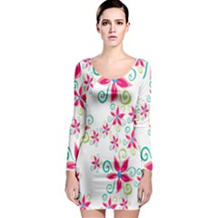 Flower Beauty Sexy Rainbow Sunflower Pink Green Blue Long Sleeve Bodycon Dress by Mariart
