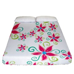 Flower Beauty Sexy Rainbow Sunflower Pink Green Blue Fitted Sheet (queen Size) by Mariart
