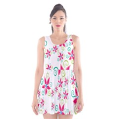 Flower Beauty Sexy Rainbow Sunflower Pink Green Blue Scoop Neck Skater Dress