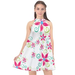 Flower Beauty Sexy Rainbow Sunflower Pink Green Blue Halter Neckline Chiffon Dress