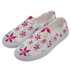 Flower Beauty Sexy Rainbow Sunflower Pink Green Blue Men s Canvas Slip Ons by Mariart