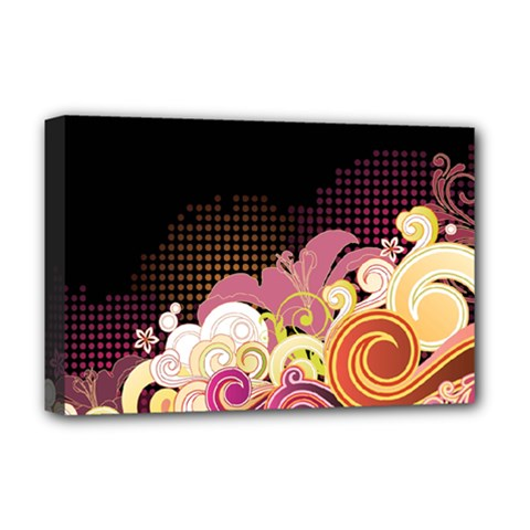 Flower Back Leaf Polka Dots Black Pink Deluxe Canvas 18  X 12   by Mariart