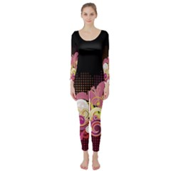 Flower Back Leaf Polka Dots Black Pink Long Sleeve Catsuit by Mariart