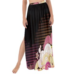 Flower Back Leaf Polka Dots Black Pink Maxi Chiffon Tie Up Sarong