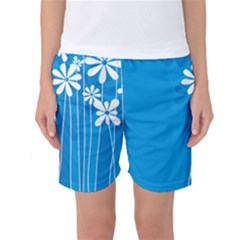 Flower Blue Women s Basketball Shorts by Mariart