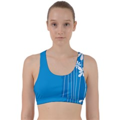 Flower Blue Back Weave Sports Bra