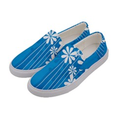 Flower Blue Women s Canvas Slip Ons by Mariart