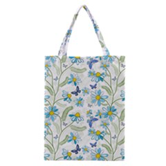 Flower Blue Butterfly Leaf Green Classic Tote Bag