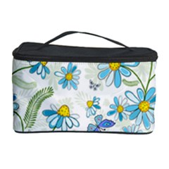 Flower Blue Butterfly Leaf Green Cosmetic Storage Case by Mariart