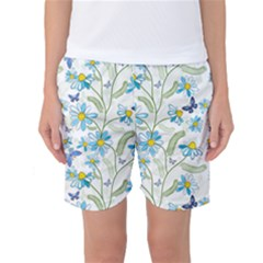 Flower Blue Butterfly Leaf Green Women s Basketball Shorts