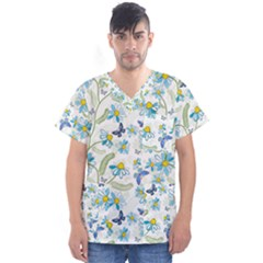 Flower Blue Butterfly Leaf Green Men s V Neck Scrub Top