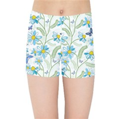 Flower Blue Butterfly Leaf Green Kids Sports Shorts by Mariart
