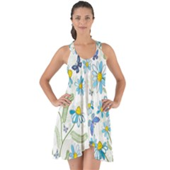 Flower Blue Butterfly Leaf Green Show Some Back Chiffon Dress by Mariart