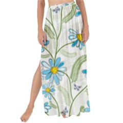 Flower Blue Butterfly Leaf Green Maxi Chiffon Tie Up Sarong by Mariart