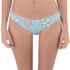 Flower Blue Butterfly Bird Yellow Floral Sexy Reversible Hipster Bikini Bottoms by Mariart