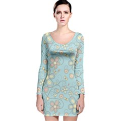 Flower Blue Butterfly Bird Yellow Floral Sexy Long Sleeve Velvet Bodycon Dress by Mariart