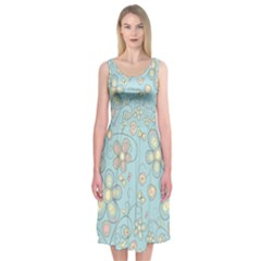 Flower Blue Butterfly Bird Yellow Floral Sexy Midi Sleeveless Dress