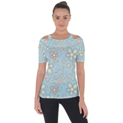 Flower Blue Butterfly Bird Yellow Floral Sexy Short Sleeve Top by Mariart