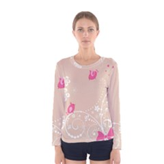 Flower Bird Love Pink Heart Valentine Animals Star Women s Long Sleeve Tee by Mariart