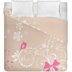 Flower Bird Love Pink Heart Valentine Animals Star Duvet Cover Double Side (king Size) by Mariart
