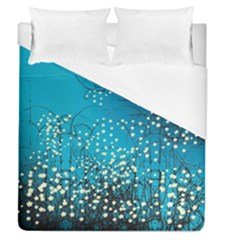 Flower Back Leaf River Blue Star Duvet Cover (queen Size) by Mariart